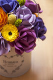 Colorful Paper Flowers in a small white bucket Stock Image