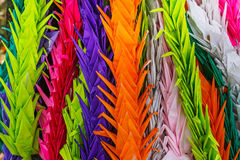 Colorful paper folded cranes at. Colorful paper folded vranes at Hiroshima Central Park Stock Images