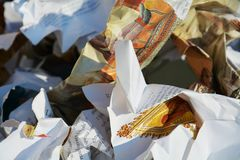 Colorful paper garbage, background Royalty Free Stock Images