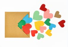 Colorful paper heart shape. Burst from envelope Royalty Free Stock Photo