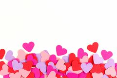 Colorful paper hearts border Stock Photo