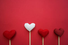 Colorful paper hearts on line as a gift for Valentine`s Day. Heart is fall love. Frame Stock Image
