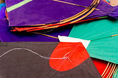 Colorful paper kites in India. Colorful paper kites from India used for the sport of kite fighting. These are traditionally flown on Makar Sankranti or on Stock Image