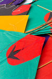Colorful paper kites in India. Colorful paper kites from India used for the sport of kite fighting. These are traditionally flown on Makar Sankranti or on Royalty Free Stock Photos