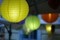 Colorful paper lamps Stock Images