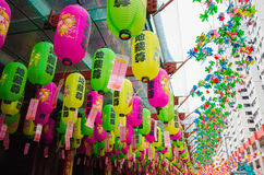 Colorful paper lantern decoration at chinese temple in singapore Royalty Free Stock Photography