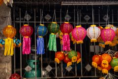 Colorful paper lantern for decoration in Loy Kratong or Loi Kra stock images