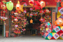 Colorful paper lanterns being sold for mid autumn festival in China stock image