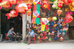 Colorful paper lanterns being sold for mid autumn festival in China royalty free stock photo