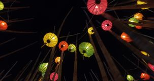 Colorful paper lanterns stock video