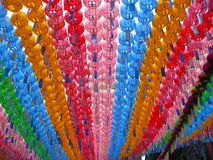 Colorful Paper Lanterns Hanging at Festival in South Korea Stock Photo
