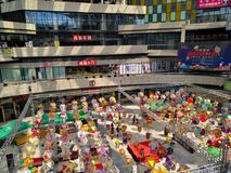 Colorful paper lanterns hanging in shopping mall for mid autumn festival & national holidays Stock Photography