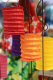 Colorful paper lanterns on sticks Royalty Free Stock Image