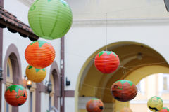 Colorful paper lanterns Stock Photography