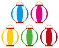 Colorful paper lanterns (vertical stripes) Royalty Free Stock Photography