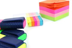 Colorful paper and markers Stock Image