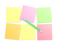 Colorful paper note with pencil. Colorful post paper note with pencil. Illustration Stock Image