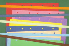 Colorful paper notes. With ribbon Stock Images