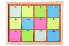 Colorful Paper Notes on Corkboard Royalty Free Stock Photography