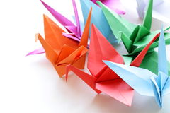 Colorful paper origami birds Stock Image