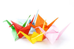 Colorful paper origami birds Stock Photo