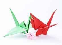 Colorful paper origami birds Stock Photos