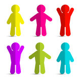 Colorful Paper People Icons Stock Photo