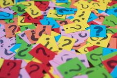 Colorful paper with question mark as background Stock Photo