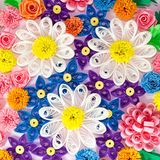 Colorful paper quilling flowers Stock Photos