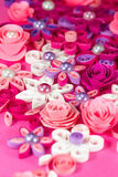 Colorful paper quilling flowers with pearls. Royalty Free Stock Image