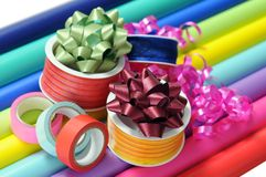Colorful paper, ribbon, bow, and tape Stock Images