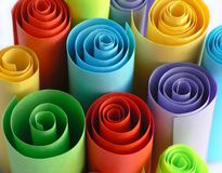 Colorful paper rolls. Rolls of paper - different colors royalty free stock images