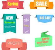 Colorful paper sale shopping labels isolated on white. stock illustration