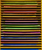 Colorful paper on shelf, stationary. And art Royalty Free Stock Images