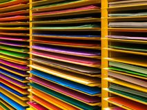 Colorful paper on shelf, stationary. And art Stock Image