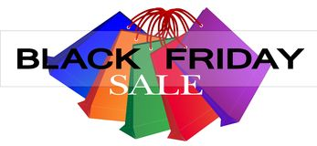 Colorful Paper Shopping Bags for Black Friday Prom Royalty Free Stock Image