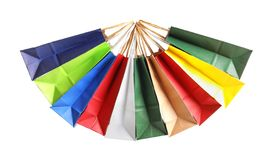 Colorful paper shopping bags. On white background stock photo