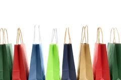 Colorful paper shopping bags stock photography