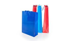 Colorful paper shopping bags including blue and red Stock Image