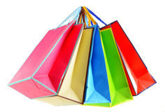 Colorful paper shopping bags isolated on white Stock Images