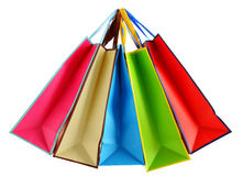 Colorful paper shopping bags isolated on white Royalty Free Stock Photo