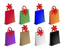 Colorful Paper Shopping Bags with Red Bows Stock Images