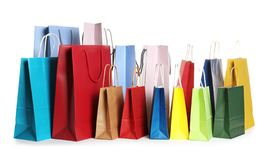 Colorful paper shopping bags stock photo