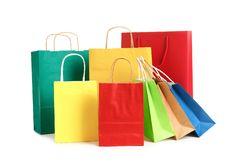 Colorful paper shopping bags. On white background royalty free stock photography