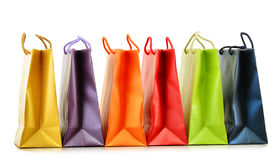 Colorful paper shopping bags on white Royalty Free Stock Photo