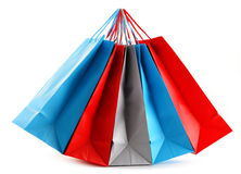 Colorful paper shopping bags on white Royalty Free Stock Images