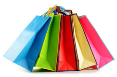 Colorful paper shopping bags on white Stock Images