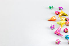 Colorful paper star on white background Royalty Free Stock Photo