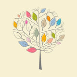 Colorful Paper Tree Illustration. Abstract Retro Colorful Paper Tree Illustration Royalty Free Stock Photography