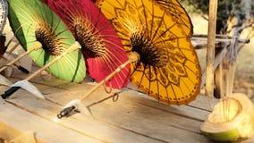 Colorful Paper Umbrella stock footage